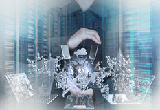 Double exposure of businessman shows modern technology Royalty Free Stock Photo