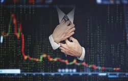 Double exposure businessman, with stock exchange graph. Development and growth in stock market and business investment concept Royalty Free Stock Photos