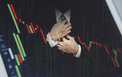 Double exposure businessman, with stock exchange graph. Development and growth in stock market and business investment concept Stock Photography
