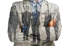 Double Exposure of Businessman and Support Team Businesspeople C Stock Photography