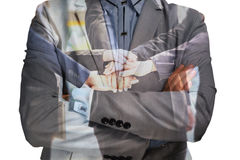 Double Exposure of Businessman with Support Team join Hand or Un Royalty Free Stock Photo