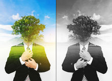 Double exposure businessman with a tree with the sky, ecology friendly concept, Think Green. Concepts Stock Photo