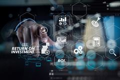 Double exposure of Businessman working with a Cloud Computing di. ROI Return on Investment indicator in virtual dashboard for improving business Royalty Free Stock Images