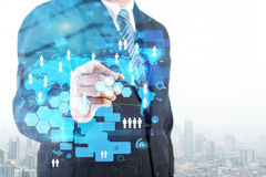 Double exposure of businessman working with new modern computer Stock Photos