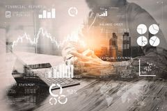 Double Exposure,businessman working with new start up project.us. Financial report data of business operations (balance sheet and  income statement and diagram) Stock Images