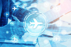 double exposure businessman writes business plan and flight travelling networking royalty free stock image