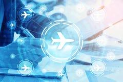 Double exposure businessman writes business plan and flight trav Royalty Free Stock Image
