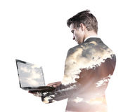 Double exposure of businessman stock photography