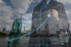 Double exposure Businessmen in the concept of successful financial investment achievement management in professional marketing and royalty free stock photography