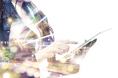 Double exposure businessperson Royalty Free Stock Images