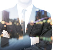 Double exposure businessperson Stock Images