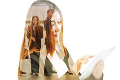 Double Exposure of Businesswoman use Wireless Digital Mobile Tab Royalty Free Stock Images