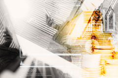 Double exposure of businesswomen using smart phone with blur cit Royalty Free Stock Images