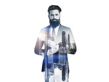 Double exposure of bw business man and city Stock Image