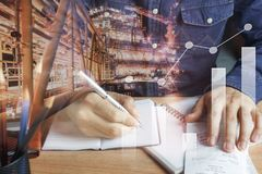 Double exposure chart growth up & financial and industrial background. Concept.business man working calculate payment accounting & finances on  brown office Stock Photos