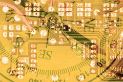 Double exposure circuit board with directional compass Stock Photography