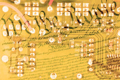 Double exposure circuit board with US constitution background Stock Images