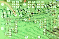 Double exposure circuit board with US constitution background Royalty Free Stock Photos
