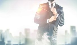 Double exposure of city and business man Stock Image