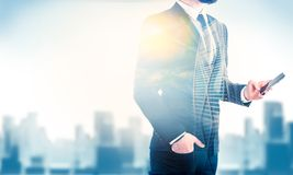Double exposure of city and business man Royalty Free Stock Image
