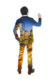 Double exposure of city and businessman. Double exposure of city and businessman, Business success concept Stock Photography