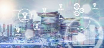Double exposure of city or connection and rows of coins. For Online Payment and business concept Stock Photography