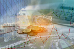 Double exposure of city, graph, banknote and coins money Royalty Free Stock Photography