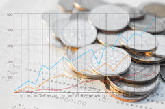 Double exposure coins with book bank and growing graph. Double exposure coins with book bank and growing graph, Saving money, Economy, Investment and Saving Stock Images