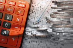 Double exposure coins with calculator and growing graph. Double exposure coins with calculator and growing graph, Saving money, Economy, Investment and saving Royalty Free Stock Images