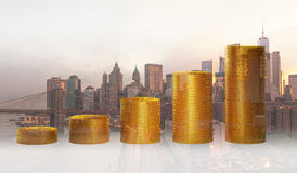 Double exposure of coins for finance and business concept. Design Royalty Free Stock Photography