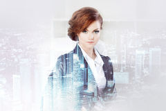 Double exposure concept with business woman and. Metropolis on background royalty free stock images