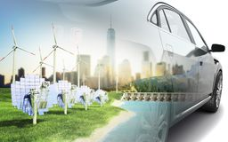 Double Exposure concept of ecologically clean transport ecostand Stock Image