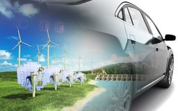 Double Exposure concept of ecologically clean transport ecostand Royalty Free Stock Photos
