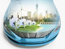 Double Exposure concept of ecologically clean transport ecostand Royalty Free Stock Image
