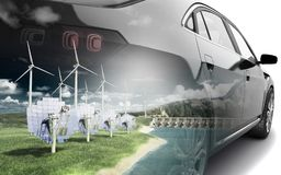 Double Exposure concept of ecologically clean transport ecostand Royalty Free Stock Photography