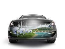 Double Exposure concept of ecologically clean transport ecostand Royalty Free Stock Photo