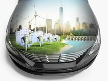 Double Exposure concept of ecologically clean transport ecostand Stock Photography