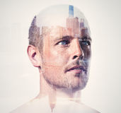 Double exposure concept with handsome man stock images