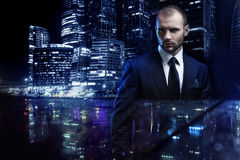 Double exposure concept, serious man in a business Royalty Free Stock Image