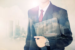 Double exposure conceptual image of urban businessman Stock Image