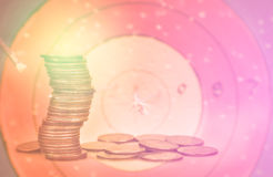 Double exposure condo of coins with archer background. Finance and banking concept Royalty Free Stock Photography