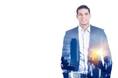 Double exposure confident business man in suit and high city sky line royalty free stock photos