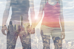 Double exposure of a couple in front of New York Royalty Free Stock Photos