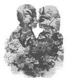 Double Exposure Of The Couple And Nature. Black and white double exposure effect on the couple kiss and spring flowers royalty free illustration
