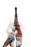 Double exposure couple and Paris Stock Image