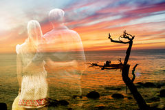 Double exposure of couple and sea Royalty Free Stock Photo