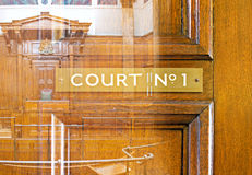 Double exposure  of crown court interior Stock Photo