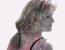 Double exposure, 3D, inner world, art, thoughts, feelings, fantasies, dreams, creativity, beauty, flowers, landscape, portrait, fa. Reflection of the inner world royalty free stock photos