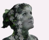 Double exposure, 3D, inner world, art, thoughts, feelings, fantasies, dreams, creativity, beauty, flowers, landscape, portrait, fa. Reflection of the inner world stock photos