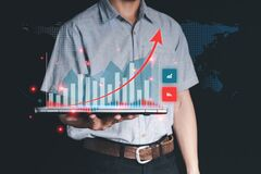Double Exposure Data analysis for business ideas and stock trading. The graphical interface displays computer technology, virtual